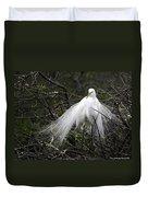 Great Egret In Tree Duvet Cover