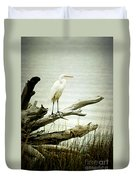 Great Egret On A Fallen Tree Duvet Cover by Joan McCool