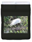 Great Egret On Nest Duvet Cover