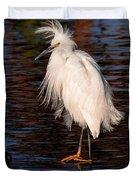 Great Egret Walking On Water Duvet Cover
