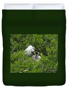 Great Egret With Chicks On The Nest Duvet Cover