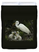 Great Egret With Young Duvet Cover