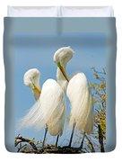 Great Egrets At Nest Duvet Cover
