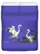 Great Egrets Nesting Duvet Cover