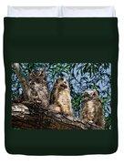 Great Horned Owl Family Duvet Cover
