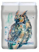 Great Horned Owl In Gold Duvet Cover