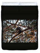 Great Horned Owl Looking Down  Duvet Cover
