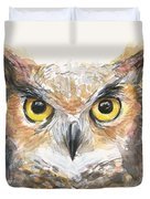 Great Horned Owl Watercolor Duvet Cover