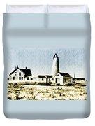 Great Point Lighthouse Nantucket Duvet Cover