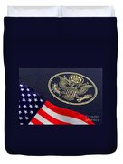 Great Seal Of The United States And American Flag Duvet Cover