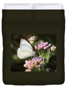 Great Southern White Butterfly On Pink Flowers Duvet Cover