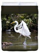 Great White Egret And Turtle Friends1 Duvet Cover