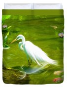Great White Egret Bird With Deer And Fish In Lake  Duvet Cover