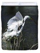 Great White Egret Building A Nest V Duvet Cover