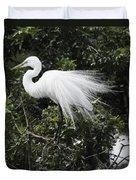 Great White Egret Building A Nest Vii Duvet Cover