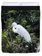 Great White Egret Building A Nest Viii Duvet Cover