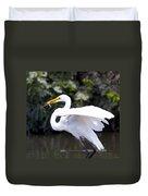 Great White Egret Eating Fish 1 Duvet Cover