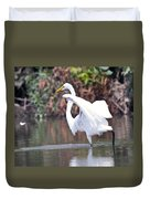 Great White Egret Fishing 1 Duvet Cover