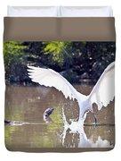 Great White Egret Fishing Sequence 2 Duvet Cover