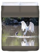 Great White Egret Fishing Sequence 4 Duvet Cover