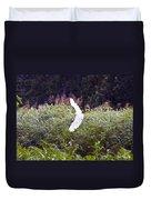 Great White Egret Flying 2 Duvet Cover