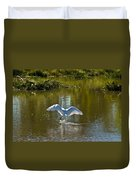 Great White Egret In Sunlight Duvet Cover