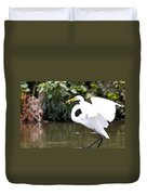 Great White Egret Show Off Duvet Cover