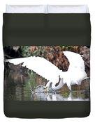 Great White Egret Splash 1 Duvet Cover