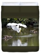 Great White Egret Wingspan And Turtles Duvet Cover