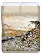Greater Roadrunner With Nest Material Duvet Cover