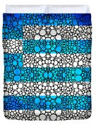 Greek Flag - Greece Stone Rock'd Art By Sharon Cummings Duvet Cover