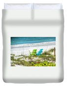 Green And Blue Chairs Duvet Cover