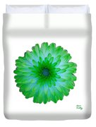 Green And Blue Dahlia Duvet Cover