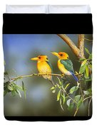Green And Gold - Yellow-billed Kingfishers Duvet Cover