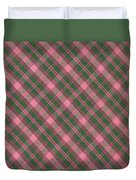 Green And Pink Diagonal Plaid Pattern Textile Background Duvet Cover