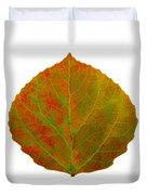 Green And Red Aspen Leaf 5 Duvet Cover