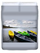 Green And Yellow Kayaks Duvet Cover