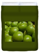 Green Apples On Display At Farmers Market Duvet Cover