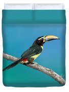 Green Aracari On Branch Duvet Cover