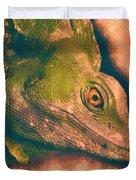 Green Basilisk Lizard Duvet Cover