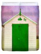 Green Beach Hut Duvet Cover