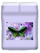 Green Butterfly And Mums Duvet Cover