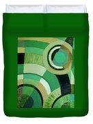 Green Circle Abstract Duvet Cover