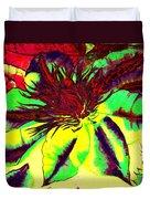 Green Clematis Flower Duvet Cover