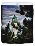 Green Copper Lantern Room On Scituate Lighthouse Duvet Cover