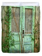 Green Cottage Doors Duvet Cover
