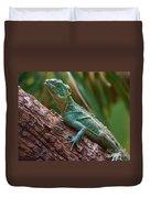 Green Crested Basilisk Duvet Cover