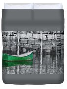 Green Dinghy Floating Duvet Cover