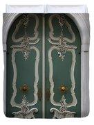 Green Door In Gdansk Duvet Cover