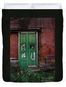 Green Door On Red Brick Wall Duvet Cover